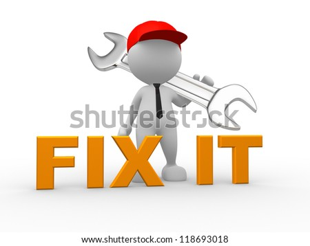 3d people - man, person with a wrench. Businessman and builder. Fix it - stock photo