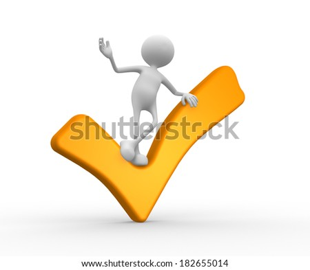 3d people - man, person with a yellow check mark  - stock photo