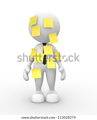 3d people - man, person with a yellow paper. Multitasking. Post it. - stock photo