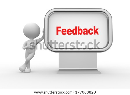 3d people - man, person with advertising billboard and word feedback - stock photo