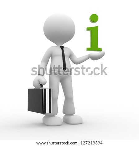 3d people - man, person with an information icon. - stock photo