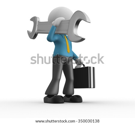 3d people - man , person  with big wrench. - stock photo