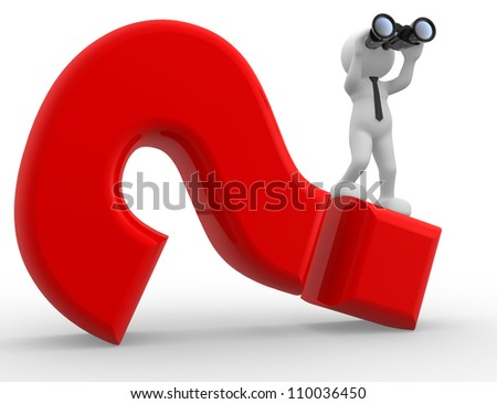 3d people - man, person with binocular and question mark - stock photo