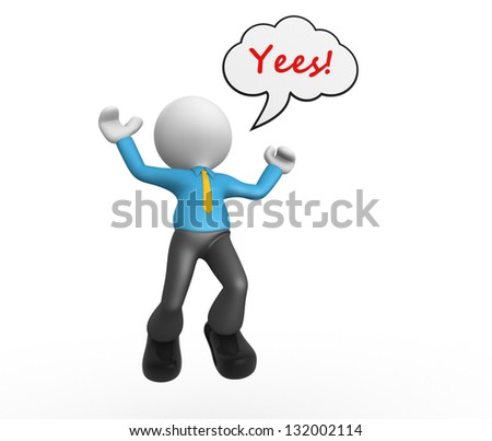 3d people - man, person with blank bubble. Happy. Yes - stock photo
