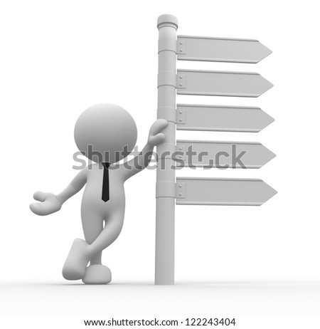 3d people - man, person with blank directional sign - stock photo