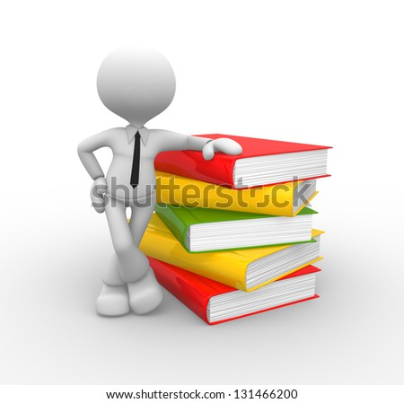 3d people - man, person with books - stock photo