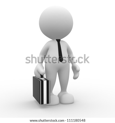 3d people - man, person with briefcase and tie. Businessman - stock photo