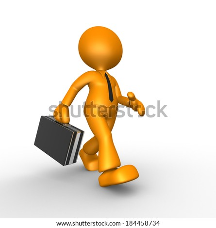 3d people - man, person with briefcase. Businessman  - stock photo
