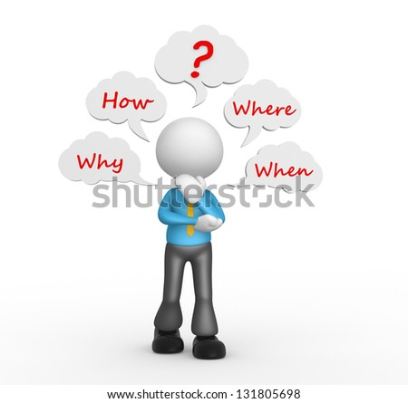 3d people - man, person with bubbles and a question mark. Conceptual image with various questions ( where, why, when, how ). - stock photo