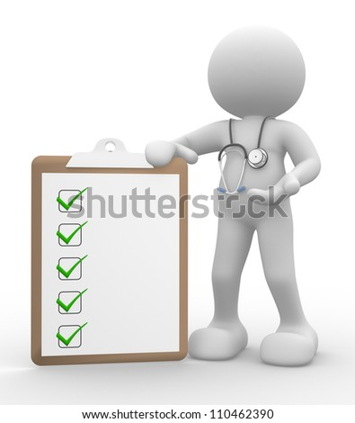 3d people - man, person with clipboard and a stethoscope. Doctor with checklist. - stock photo