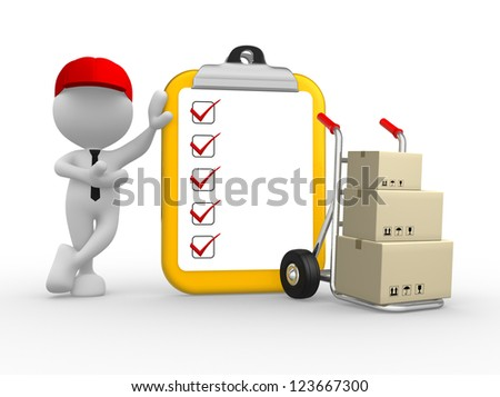 3d people - man, person with clipboard and  hand truck. Postman - stock photo