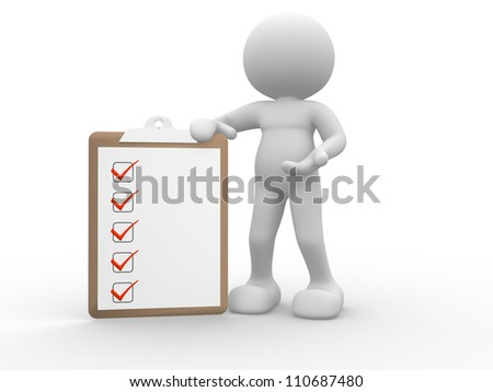 3d people - man , person with clipboard. Clip board - stock photo