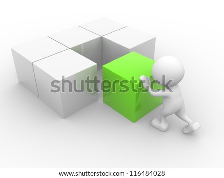 3d people - man, person with cubes