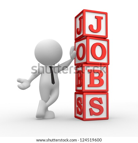 """3d people - man, person with cubes and word """"jobs"""" - stock photo"""