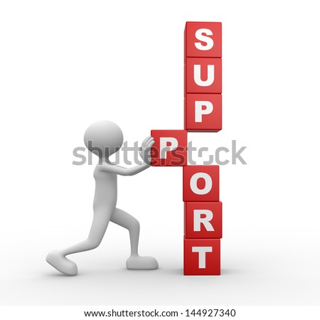 3d people - man, person with cubes and word SUPPORT. Support concept - stock photo