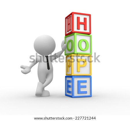 3d people  - man, person with cubes. Hope concept - stock photo