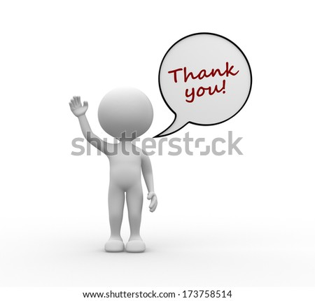 3d people - man, person with dialog bubble and text thank you - stock photo