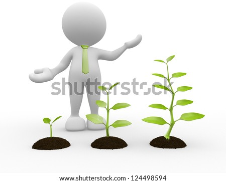 3d people - man, person with earth and plant. Seedling - stock photo
