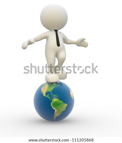 3d people - man, person with earth globe - stock photo