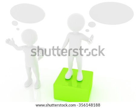3d people, man, person with empty speech bubble - stock photo