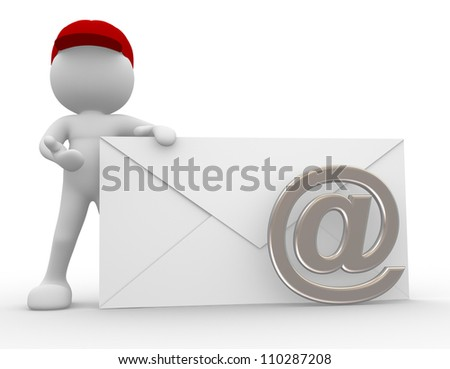 3d people - man, person with envelope. Postman send an email - stock photo