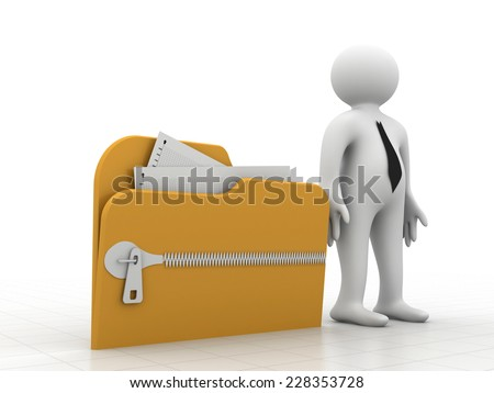 3d people - man, person with folder icon with zip - stock photo