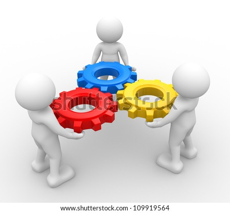 3d people - man, person with gear mechanism. - stock photo