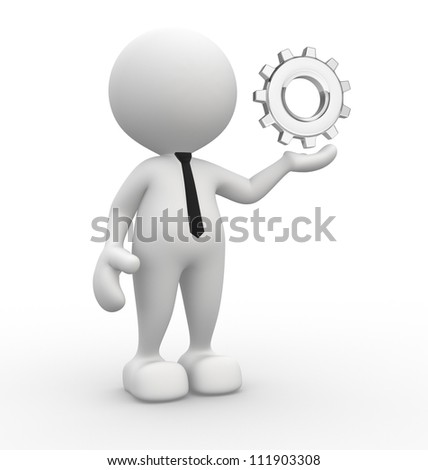 3d people - man, person with gear mechanism.
