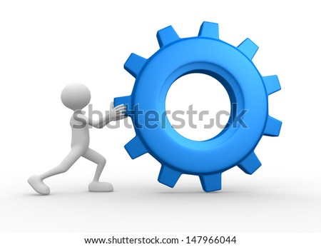 3d people - man, person with gear mechanism. Wheel