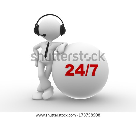 3d people - man, person with headphone and 24/7 - stock photo
