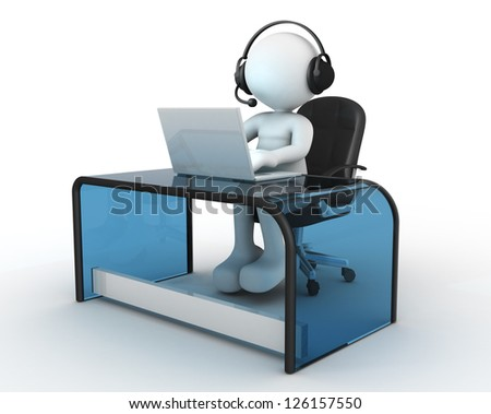 3d people - man, person with headphone sitting at the table and working on a laptop computer.