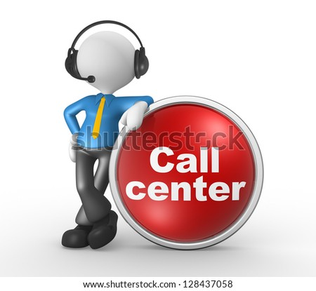 3d people - man, person with headphones and a button. Call center. Businessman - stock photo