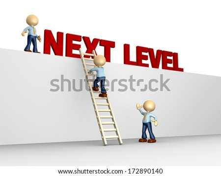 3d people - man, person with ladder. Next level. Progress concept. - stock photo