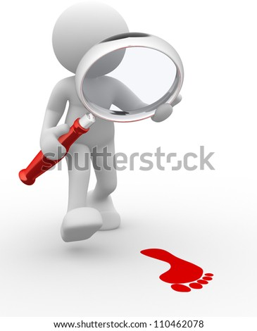 3d people - man, person with magnifier and footprint. - stock photo