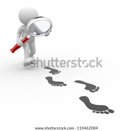 3d people - man, person with magnifier and footprints. - stock photo