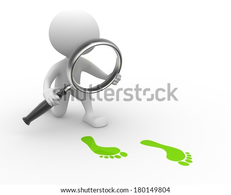 3d people - man, person with magnifying glass and footprints - stock photo