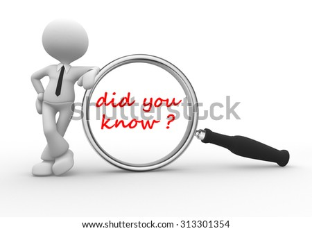 3d people - man, person with magnifying glass and text did you know? - stock photo