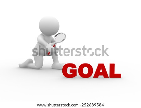 3d people - man, person with magnifying glass and word goal - stock photo