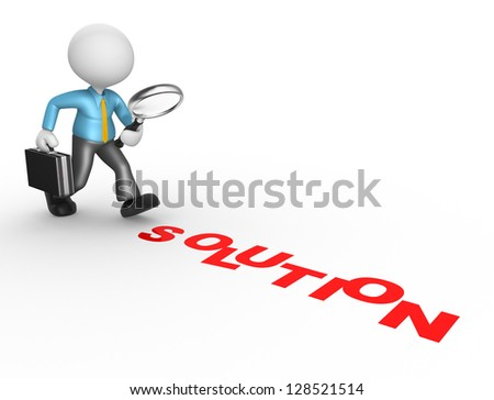 """3d people - man, person with magnifying glass and word """"solution"""". Businessman - stock photo"""