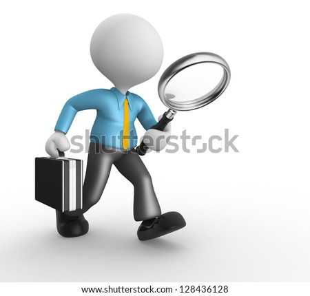 3d people - man, person with magnifying glass in hand and a briefcase. Businessman - stock photo