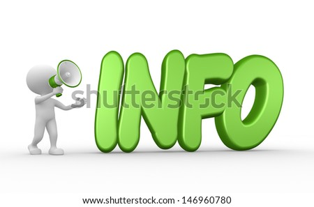 3d people - man, person with megaphone and word INFO - stock photo