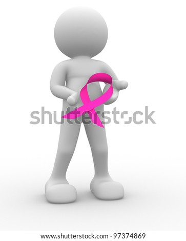 3d people - man , person with of a pink ribbon - cancer symbol - stock photo