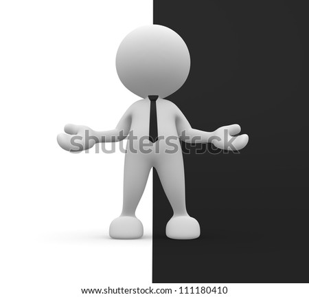 3d people - man, person with open arms. Welcome. Ying yang symbol. - stock photo