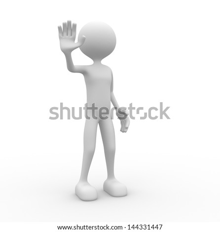 3d people - man, person with outstretched hand STOP sign
