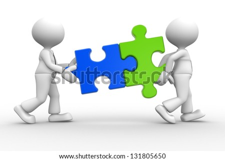 3d people -man, person with pieces jigsaw puzzle - stock photo