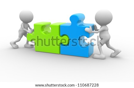3d people - man, person with pieces of puzzle - stock photo