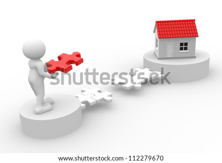 3d people - man, person with pieces of puzzle and a house. - stock photo