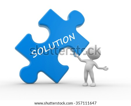"3d people - man, person with pieces of puzzle and word ""Solution"""