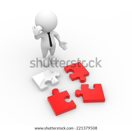 3d people - man, person with pieces of puzzle. Confused - stock photo