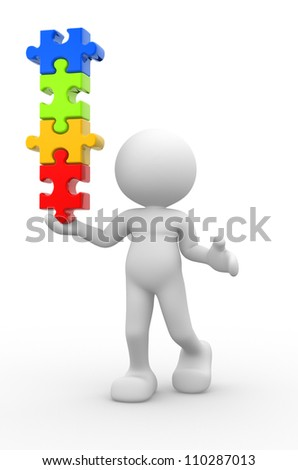 3d people - man, person with pieces of puzzle in equilibrium.